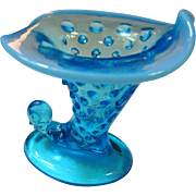 Fenton Blue Opalescent Hobnail Cornucopia Candleholder or Bud Vase