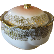 Delightful Older Vintage Gilt and Blush Pink French Powder or Trinket Box