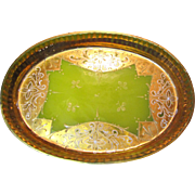Beautiful Antique Venetian Chartreuse Opaline Glass Vanity Tray