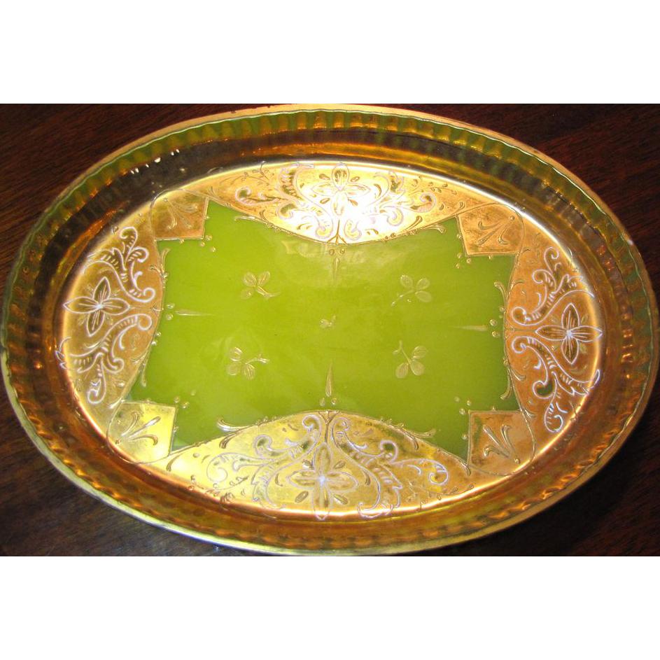 Beautiful Antique Venetian Chartreuse Opaline Glass Vanity Tray