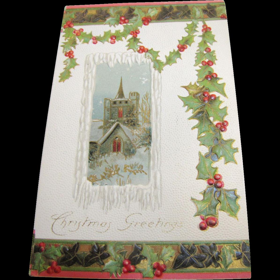 1908, Seasons Greetings Christmas Card Gilt & Embossed