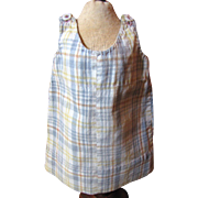 Darling Early Small Plaid Pinafore -  Hand Stitched, Very Cute!