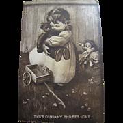 """1910, Cute Postcard  """"Two's Company Three's None"""""""
