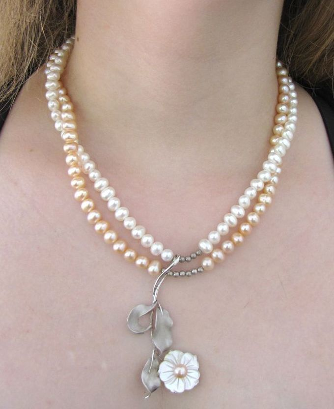 Artisan Sterling, Pearl and Mother of Pearl Necklace