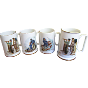"Nice Set of 4 Norman Rockwell  Museum ""Seafarer"" Mugs"