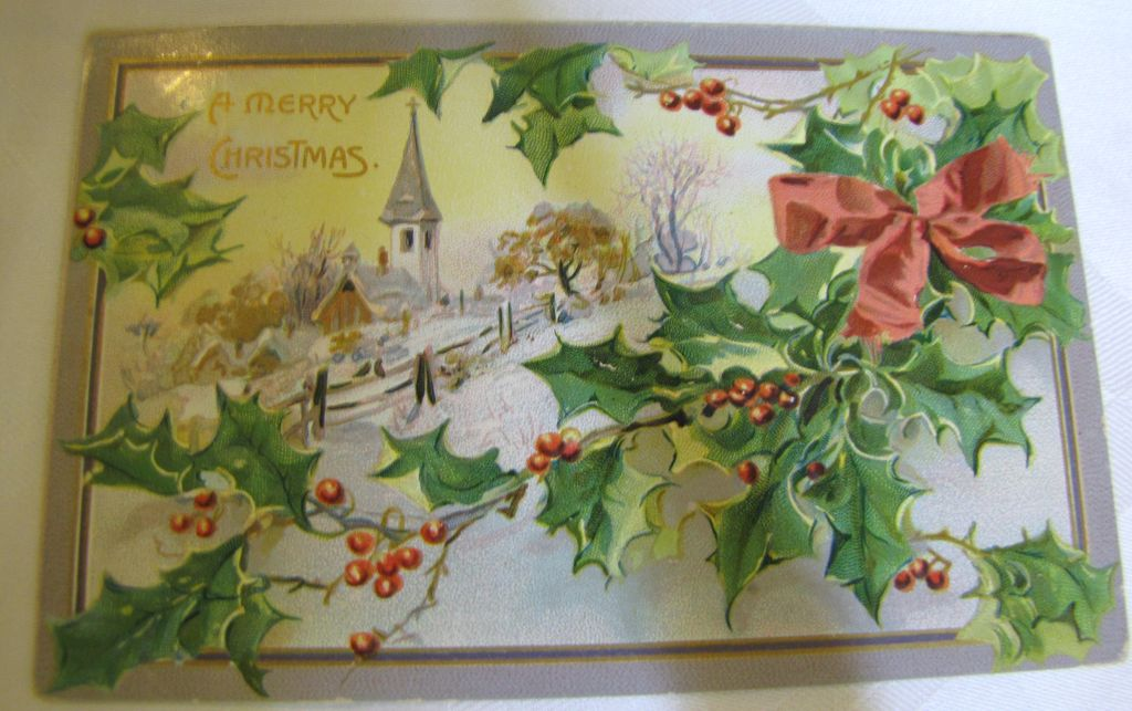 1911, A Merry Christmas Embossed Tuck Post Card