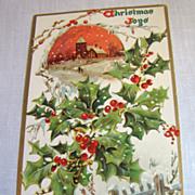"""circa 1900, """"Christmas Joys"""" Tuck Embossed Post Card No. 100"""