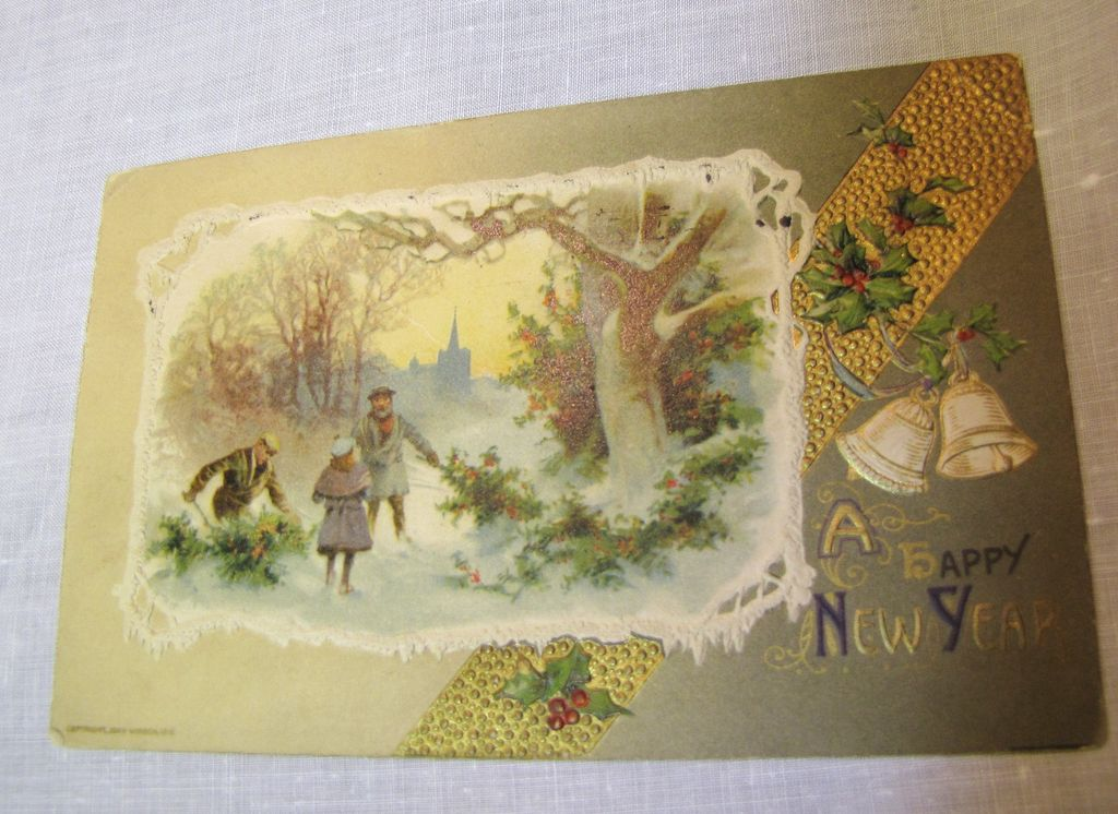 """1910, """"A Happy New Year"""", Embossed Winter Scene,"""