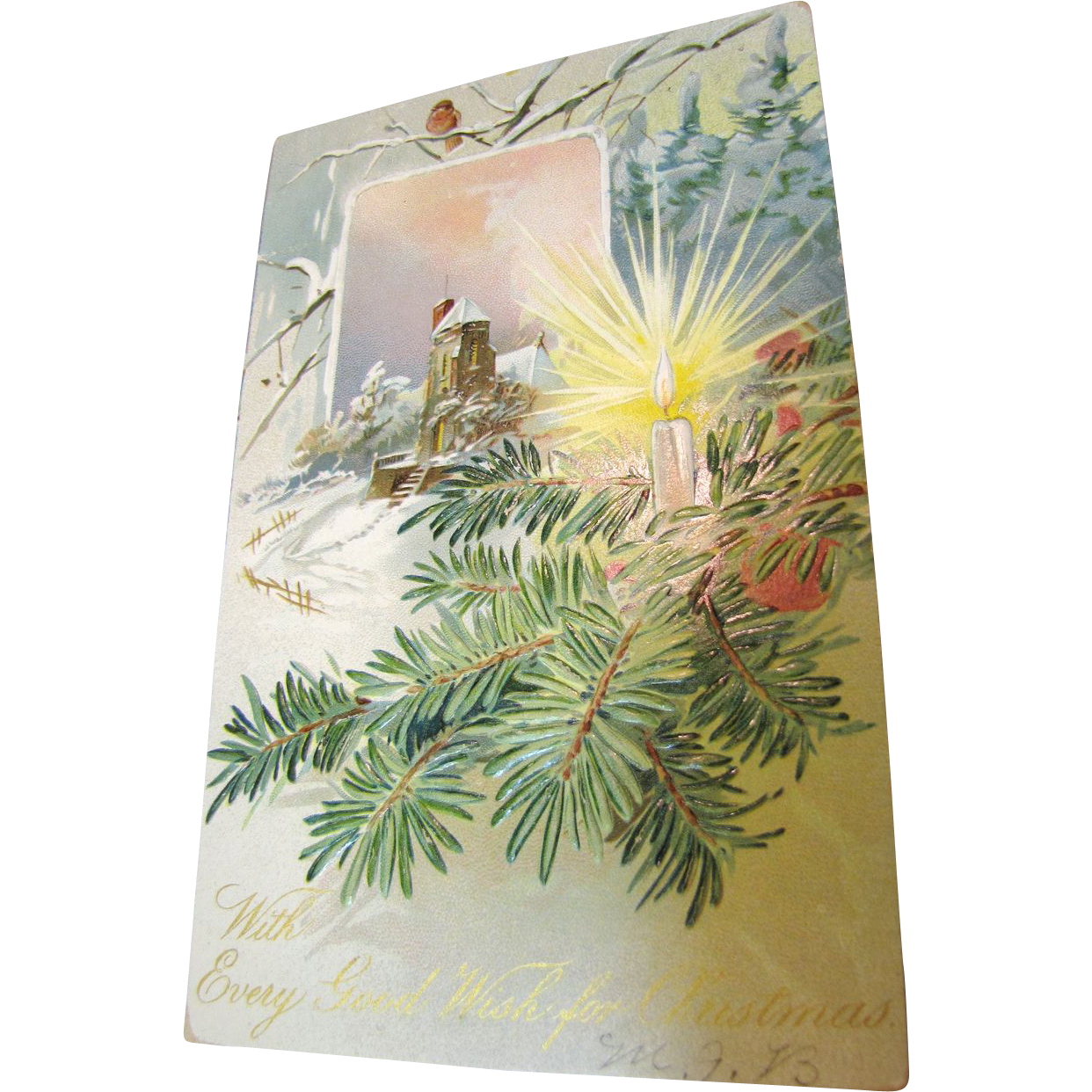 """""""With Every Good Wish for Christmas"""" Early 1900s Embossed Postcard"""