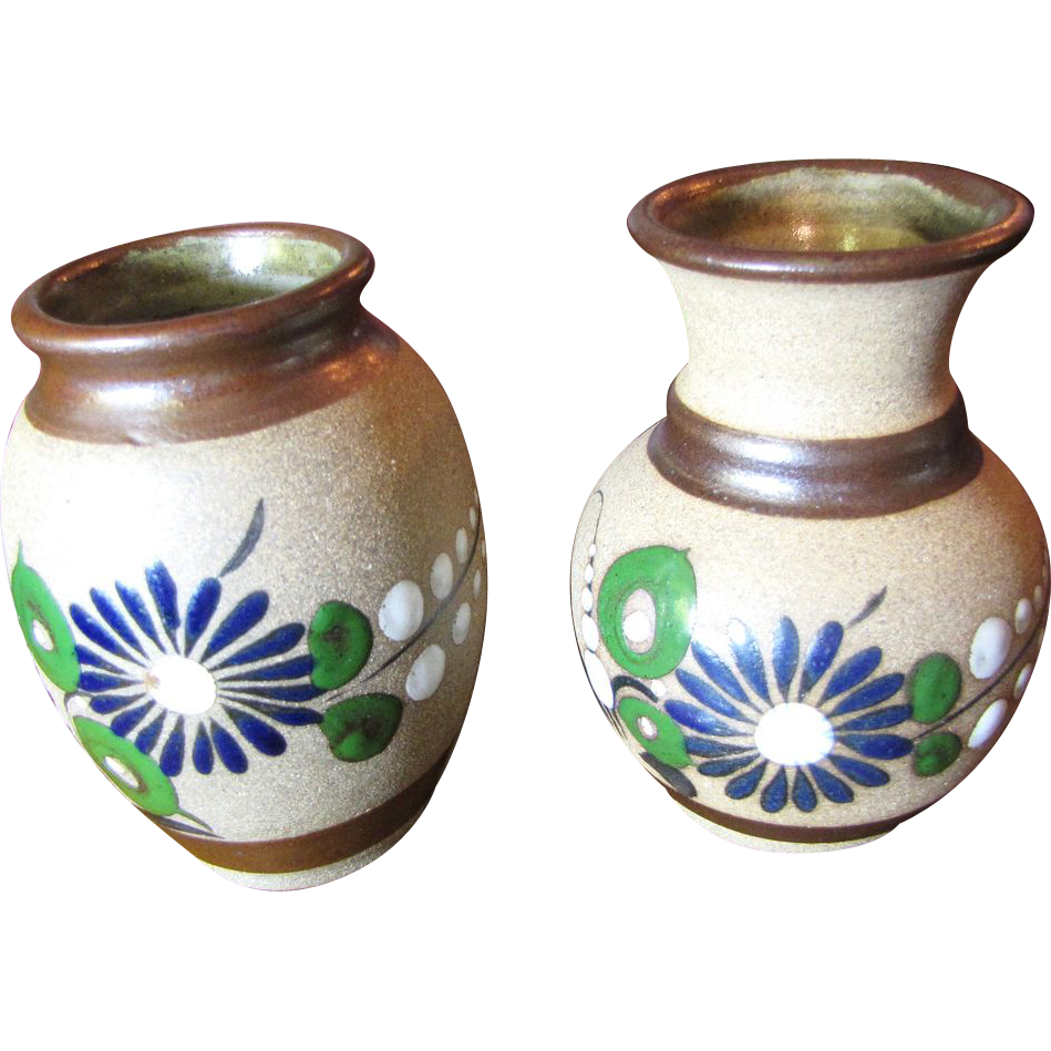 Nice Pair of Hand Made Mexican Pottery Small Vases