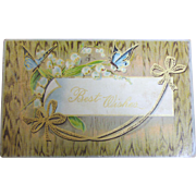 """1900's """"Best Wishes"""" Postcard Snowdrops with Butterfly, Floral Design """
