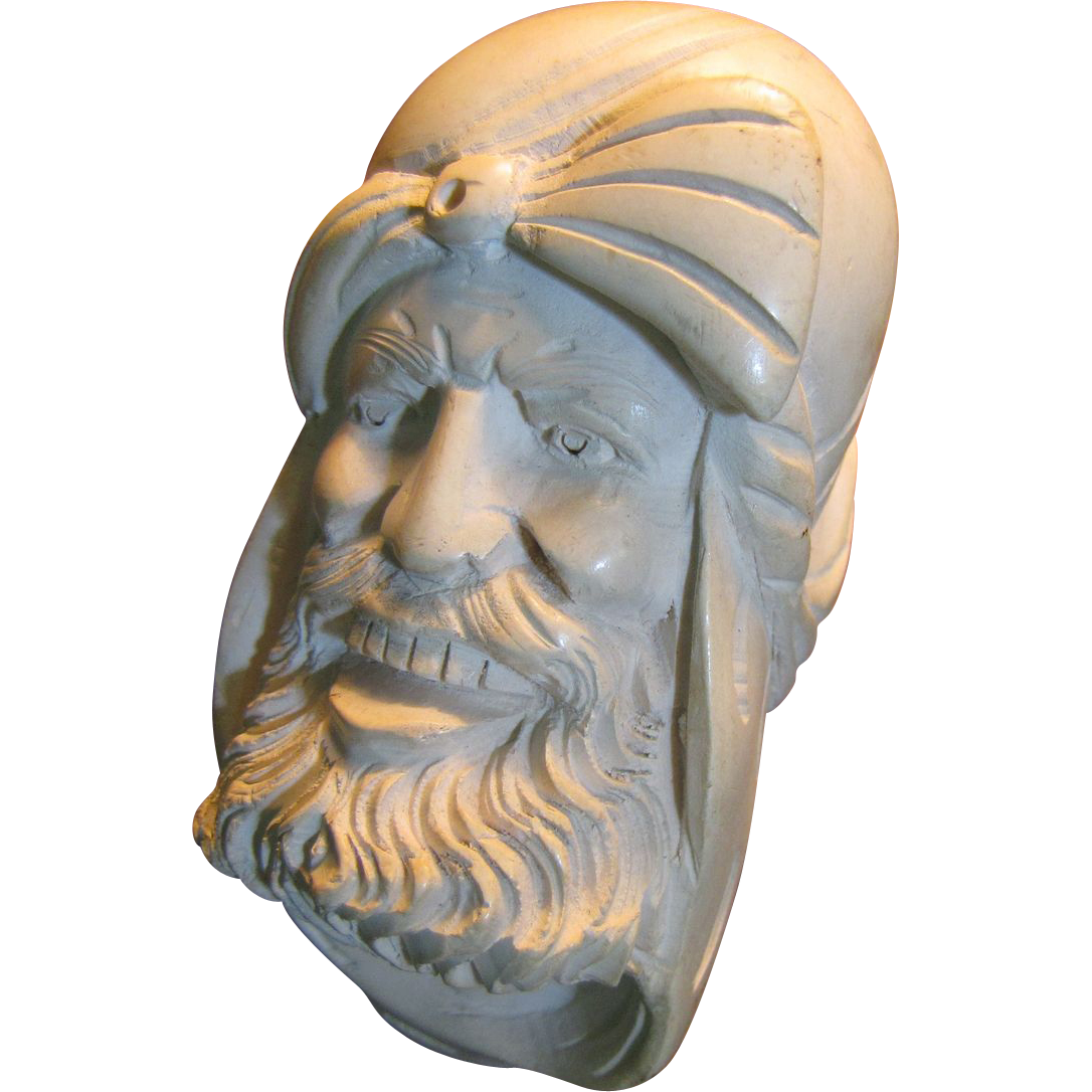 Vintage Meerschaum Pipe Bearded Sultan Large Hand Carved Head‏