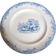 Early 19thc Pastoral Staffordshire Blue Transfereware Plate