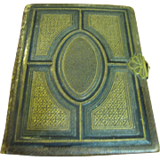 Early Small Tooled Leather Photo Album, Nice Metal Clasps
