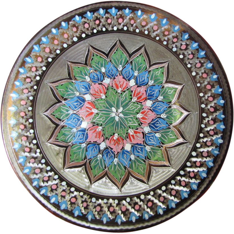 Super Turkish Etched Copper Wall Plate, Great Colors!