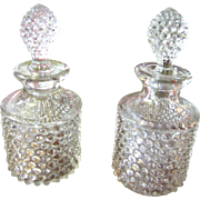 Pair of EAPG Dew Drop Pattern Cologne Bottles by Hobbs