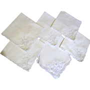 "5 Cotton Lawn 10"" Tea Napkins & Matching Bread Basket Liner"