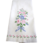 Pretty Pink Floral Hand Embroidered Hand Towel