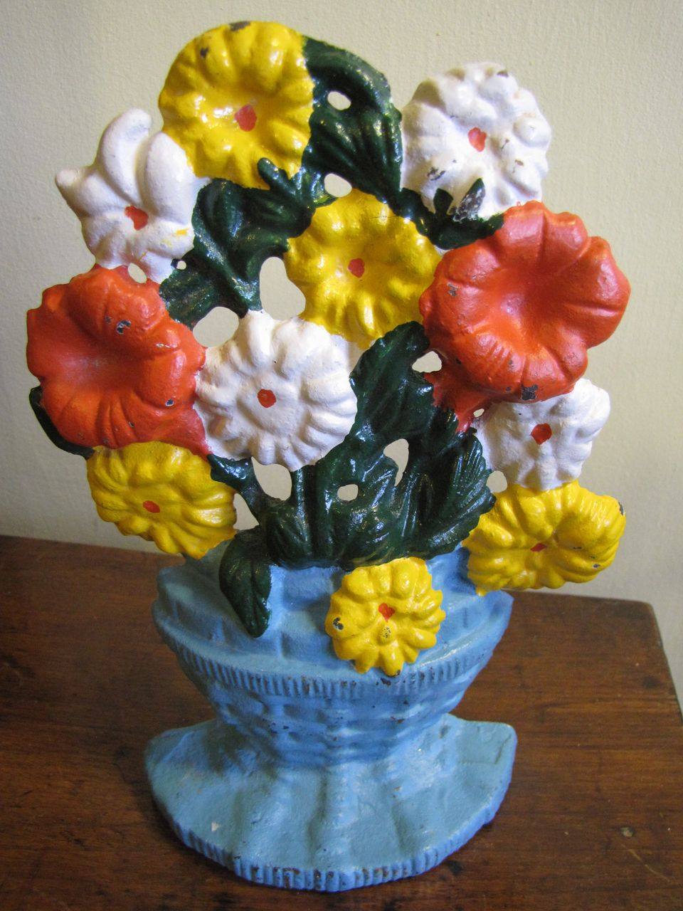 Sturdy and Traditional Vintage Cast Iron Floral Doorstop