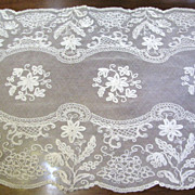 "Large & Exquisite Heavily Worked Antique 42"" Tambour Lace Runner"