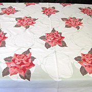 Bold and Beautiful Retro Rose Printed Cotton Vintage Tablecloth