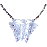 Darling Mother of Pearl Butterfly Necklace with Pink Crystals
