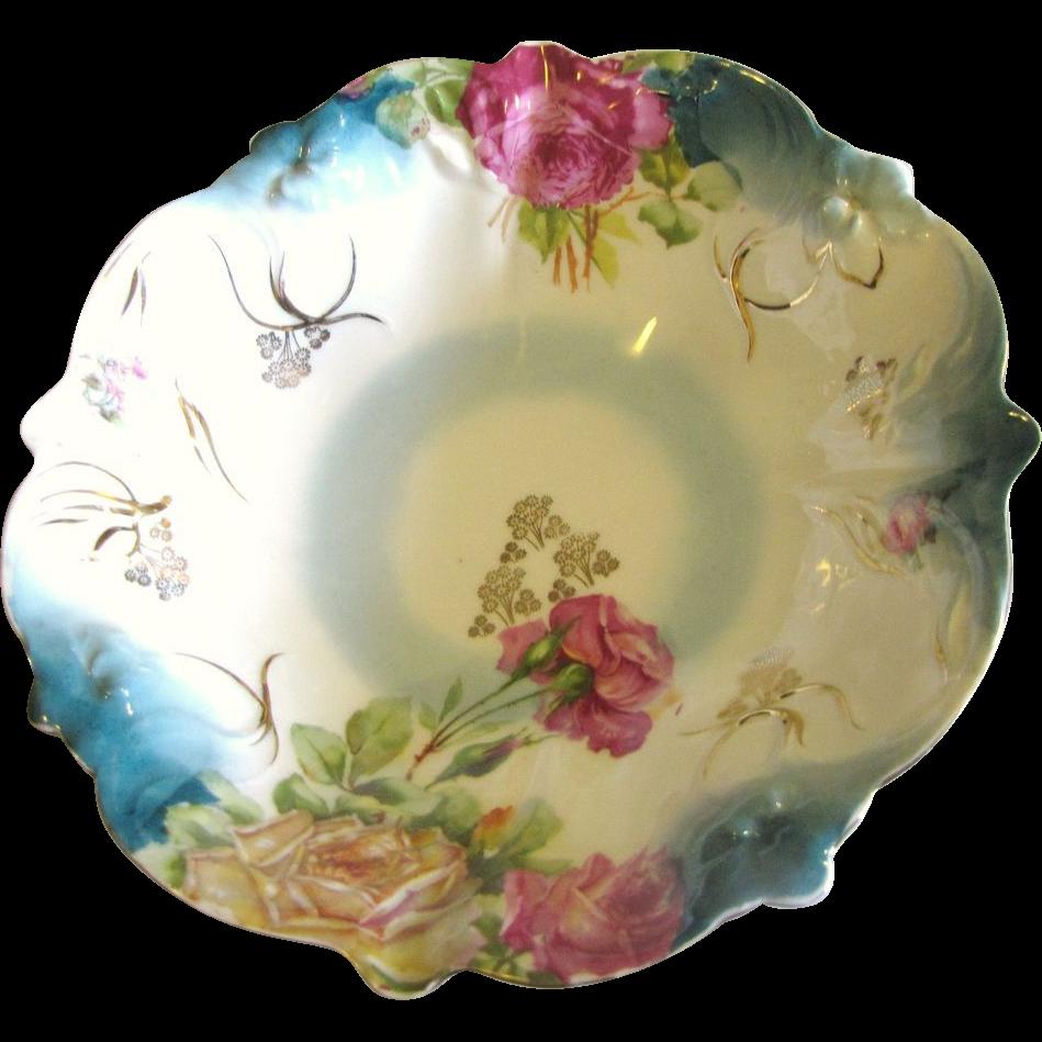 Antique PS Germany Sorau Porcelain Rose Floral Bowl ca 1898-1918