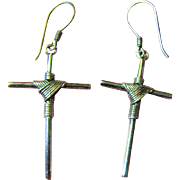 Stylish Pair of Sterling Silver Wire Wrapped Cross Earrings