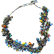 Thick Bunchy Mirco Bead Woven Necklace, Great Designer Look