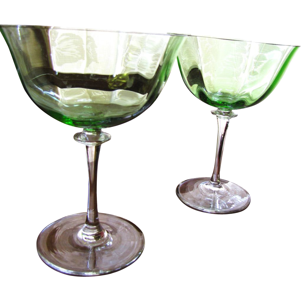 Magnificent Pair of Blown Green Optic Glass Large Goblets