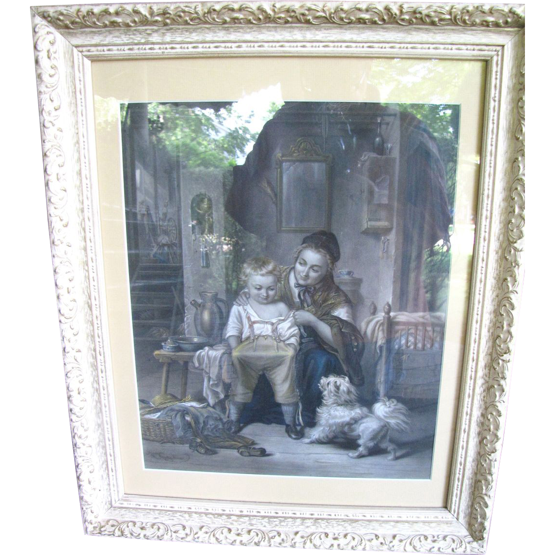 Early Victorian Hand Colored Etching by Joseph Franck, Dog, Child!