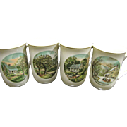 Set of Four Currier & Ives Four Seasons Coffee Cups, Japan