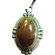 Beautiful Large Mexican Sterling & Hardstone Pendant Necklace