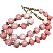 """24"""" Hand Carved Large 16mm Coral Melon Bead Necklace"""