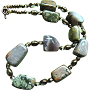 Unusual & Lovely Cut Stone Choker Necklace, with Cut to Clear Glass Spacers