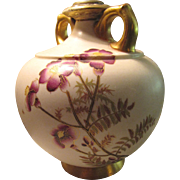 "Beautiful 5 1/2"" Royal Worcester Ivory Gilded Vase With Exquisite Hand Painting"