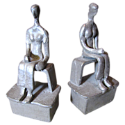 Scuptural Modern Movement Hand Forged Iron Figural Bookends