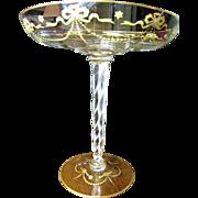 Huge Victorian Blown Glass Hand Gilt Comport, Zipper Cut Twisted Stem!