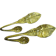 Lovely Pair of Small Solid Brass Leaf Design Curtain Tie Backs