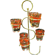 Mid Century Modern Glass Caddy with 6 Florentine Shot Glasses