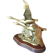 Stunning Brass Sculpture of Flying Swans