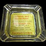 Vintage Advertising Ashtray, Oyster Bay Restaurant, Union City, N.J.
