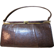 1960's Brown Alligator Framed Purse, Mid Century Elegant!