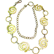 Adjustable Chain Belt, Cool Gold Tone Swirls