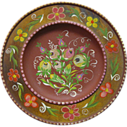 "German Folk Art 9 1/2"" Hand Painted Wooden Plate"