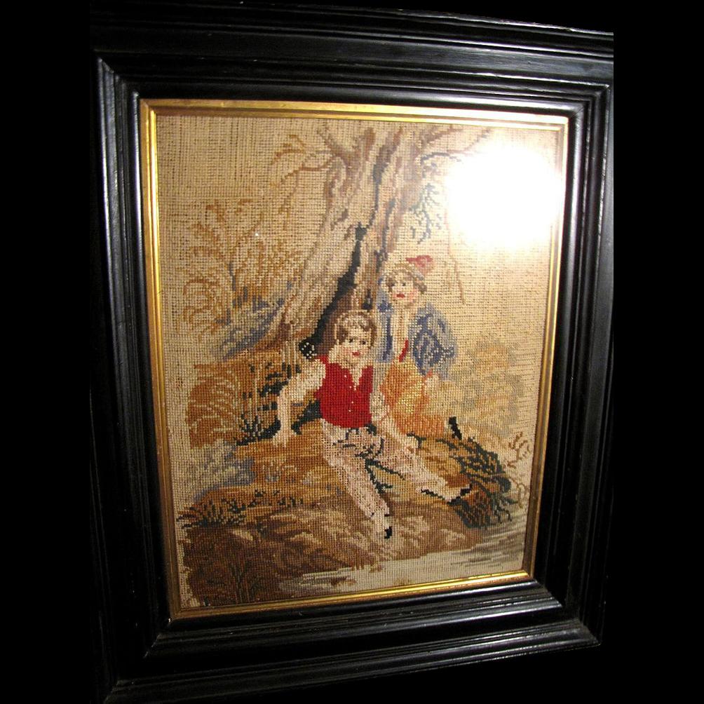 Antique Victorian Needlepoint, Ebonized Frame, Boys by River