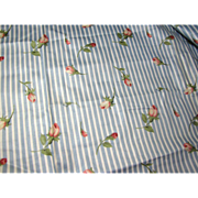 1 Yard Remnant of 14 Color Screen Printed Rose Stripe Cotton Chintz