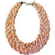 Vintage Salmon & Gold Glass Micro Bead Woven Braided Choker Necklace