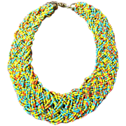 Vintage Turquoise, Yellow, Salmon & Gold Glass Micro Bead Woven Braided Choker Necklace