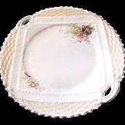 Antique Basket Weave Majolica Napkin Plate